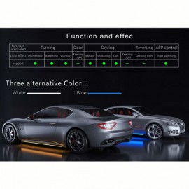 Universal Side Skirts LED White by mobile app 2120MM